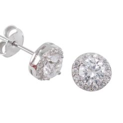 Sterling Silver 8mm Round White Cubic Zirconia Stud Earrings