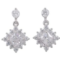 Sterling Silver 17x10mm White Cubic Zirconia Dangling Square Stud Earrings