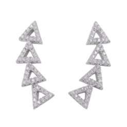 Sterling Silver 25x6mm White Cubic Zirconia Triangle Up The Ear Earrings