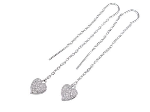 Sterling Silver 8mm White Cubic Zirconia Heart 65mm Thread Earrings