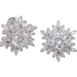 Sterling Silver 15mm White Cubic Zirconia Snowflake Stud Earrings