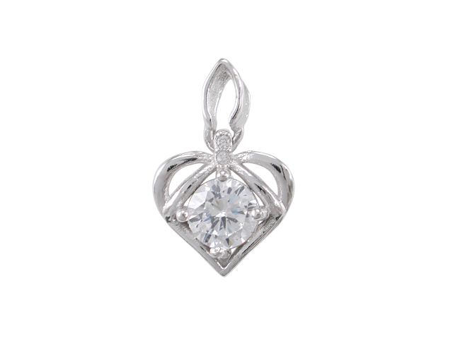 Sterling Silver 11mm White Cubic Zirconia Heart Pendant