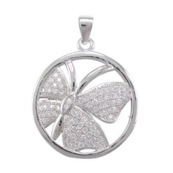 Sterling Silver 20mm White Cubic Zirconia Butterfly Pendant