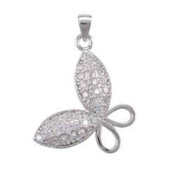 Sterling Silver 20x16mm White Cubic Zirconia Butterfly Pendant