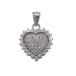 Sterling Silver 12mm White Cubic Zirconia Heart Pendant