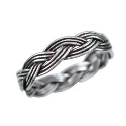 Sterling Silver 4mm Oxidised Weave Pattern Ring