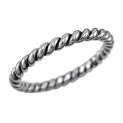 Sterling Silver 4mm Oxidised Twisted Wire Ring