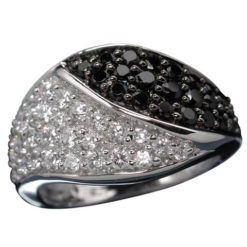 Sterling Silver 12mm Black And White Cubic Zirconia Crossover Tapered Ring-