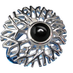 Sterling Silver 20mm Onyx Ring-