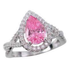 Sterling Silver 13mm Teardrop Pink Cubic Zirconia Ring