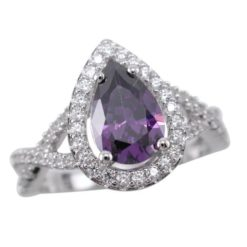 Sterling Silver 13mm Teardrop Purple Cubic Zirconia Ring