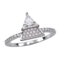 Sterling Silver 10mm White Cubic Zirconia Triangle Ring