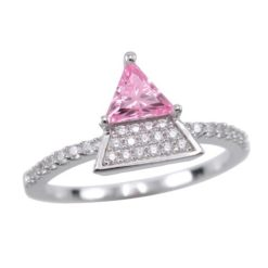 Sterling Silver 10mm Pink Cubic Zirconia Triangle Ring