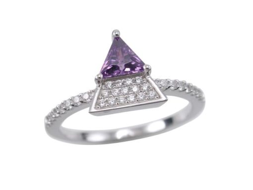 Sterling Silver 10mm Purple Cubic Zirconia Triangle Ring