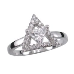 Sterling Silver 11mm White Cubic Zirconia Triangle Ring