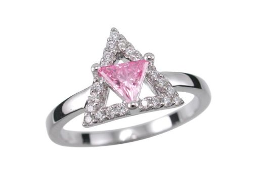 Sterling Silver 11mm Pink Cubic Zirconia Triangle Ring