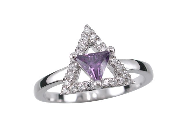 Sterling Silver 11mm Purple Cubic Zirconia Triangle Ring