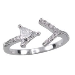 Sterling Silver 8mm White Cubic Zirconia Arrow Ring