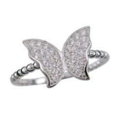Sterling Silver 9mm White Cubic Zirconia Butterfly Ring