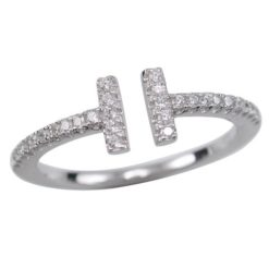 Sterling Silver 3.5mm White Cubic Zirconia Bar Ring
