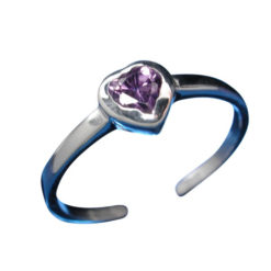 Sterling Silver 5mm Purple Cubic Zirconia Heart Toe Ring