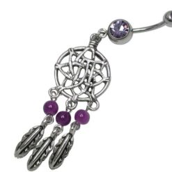 Surgical Steel Purple Cubic Zirconia Dream Catcher With Feathers Banana 1.6 X10 X 4.5/8