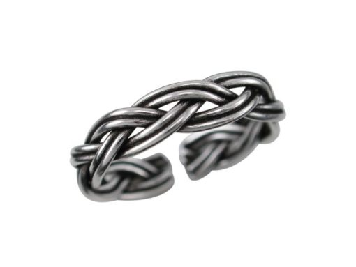 Sterling Silver 3mm Oxidised Plaited Toe Ring