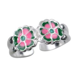 Sterling Silver 6mm Tapered Pink & Green Enamel Flower Toe Ring