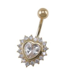 Surgical Steel Gold Ip White Cubic Zirconia Heart Banana 1.6x10