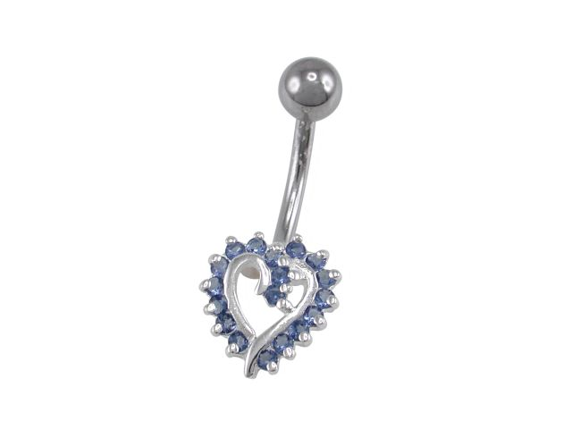 Sterling Silver & Surgical Steel Blue Cubic Zirconia Heart Banana 1.6x10