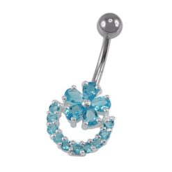 Sterling Silver & Surgical Steel Aqua Cubic Zirconia Flower  Banana 1.6x10