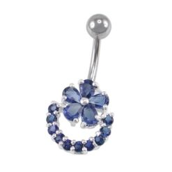 Sterling Silver & Surgical Steel Blue Cubic Zirconia Flower  Banana 1.6x10
