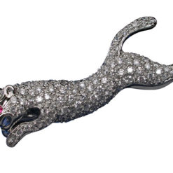 Sterling Silver 43x6mm Pink & White Cubic Zircona Cheetah Brooch