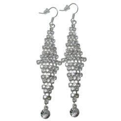 Silver Plated 60x17mm Crystal Chandelier Drop Earrings