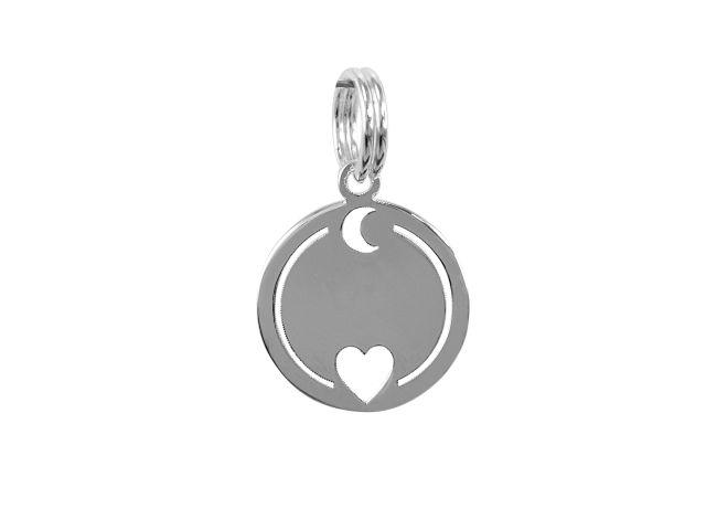 Sterling Silver 12mm *love You To The Moon & Back* Charm With Split Ring