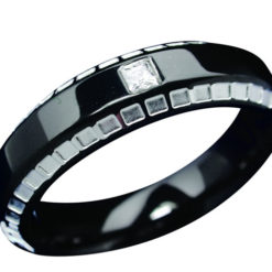 Stainless Steel 6mm Black Pvd And White Cubic Zirconia Ring-