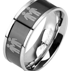 Stainless Steel 8mm Two Male Symbols Ring