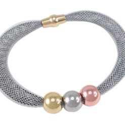 Stainless Steel 10mm Tri-colour Ball Bracelet 19cm