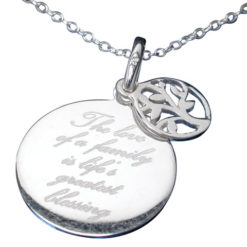 Sterling Silver 17mm *love Of A Family* With Tree Of Life Necklet 40-45cm