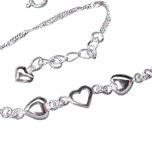 Sterling Silver Singapore Twist Three Hearts Anklet 22-25cm
