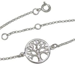 Sterling Silver 15mm Tree Of Life Bracelet 16-18cm