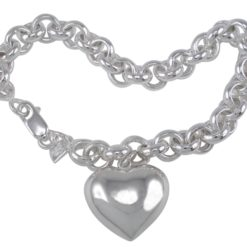 Sterling Silver 20x18mm Puff Heart On 8mm Belcher Bracelet 19cm