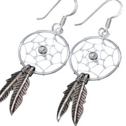 Sterling Silver 34x18mm Double Feather Dream Catcher Drop Earrings