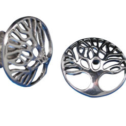 Sterling Silver 12mm Round Tree Of Life Stud Earrings