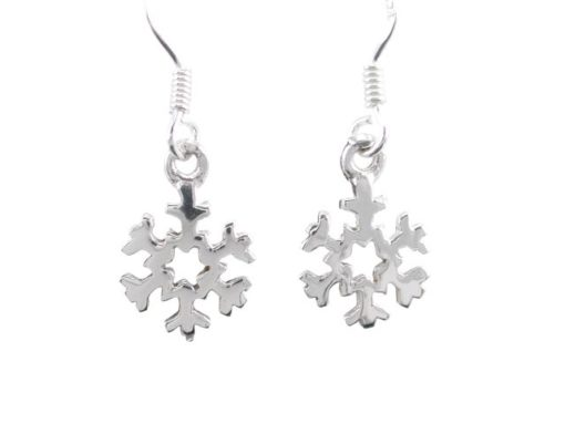 Sterling Silver 10mm Snowflake Drop Earrings