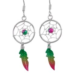 Sterling Silver 32x14mm Green, Yellow & Red Anodised Single Feather Dream Catcher Drop Earrings
