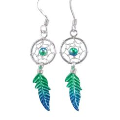 Sterling Silver 26x10mm Green & Blue Anodised Single Feather Dream Catcher Drop Earrings