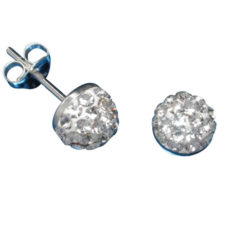 Sterling Silver 6mm White Crystal Half Ball Stud Earrings