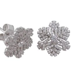 Sterling Silver 14mm White Cubic Zirconia Snowflake Stud Earrings