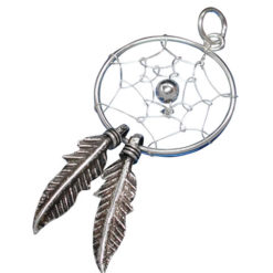Sterling Silver 30x18mm Double Feather Dream Catcher Pendant